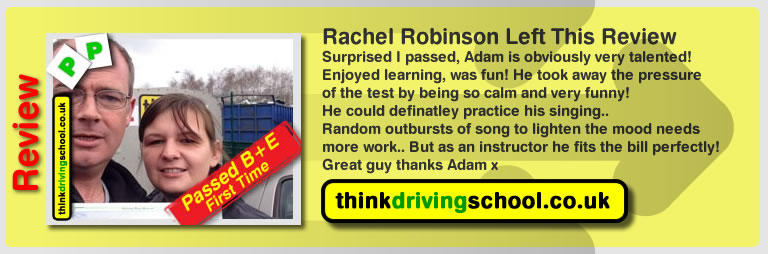 rachel robinson left this awesome review of B+E instrucotor adam iliffe from high wycombe