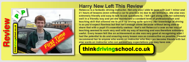Harry New left this awesome review of rebecca gaywood at think driving school