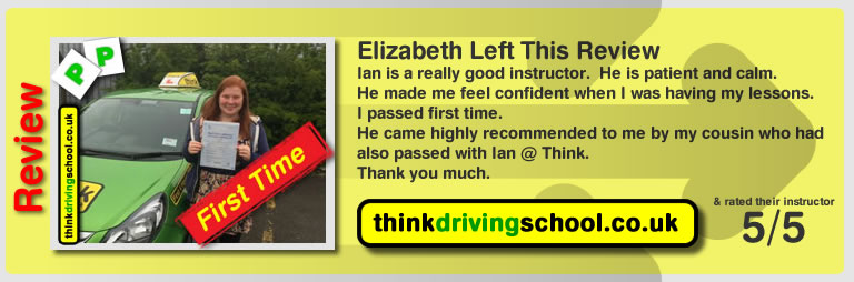 Elizabeth passed with driving instructor ian weir and lef this awesome review of think driving school
