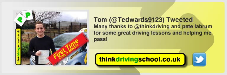 Tom left this tweet after driving lessons from pete labrum in yateley