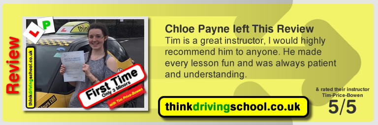 Katherine Rowett  left this awesome review of tim price-bowen at think driving school after passing in January 2017
