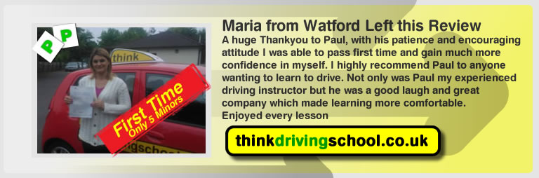 maria from watford passed with drivnig instructor paul power and left this awesome 5 star review of think driving school