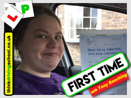 This Happy learner from Telford passed after driving lessons with Tony Beeching