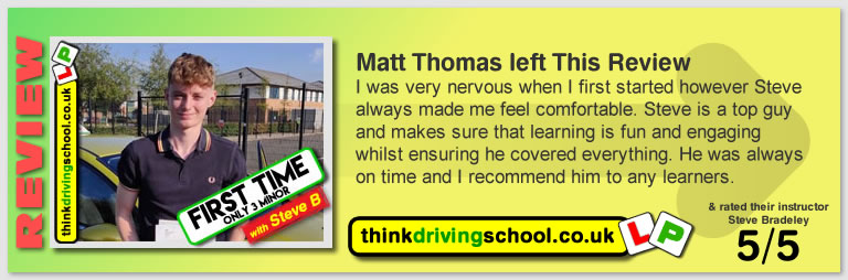 Passed with think driving school in July 2018 and left this 5 star review