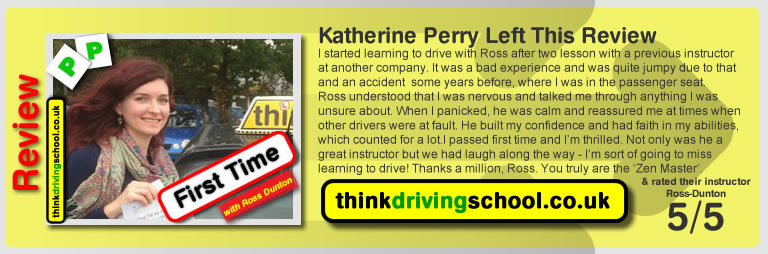 Katherine passed with ross dunton from guildford driving school after doing an intensive driving course