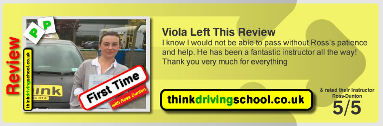 Viola passed with ross dunton from guildford driving school after doing an intensive driving course