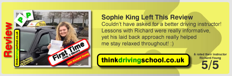 Sophie king  passed with richard young from Farnham driving school in February 2016