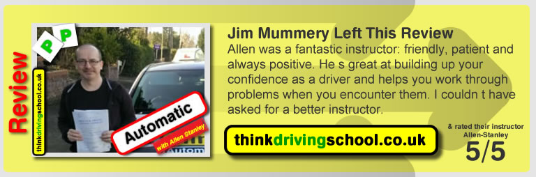 Automatic lessons in aldershot with think driving school