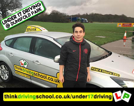 Happy under 17 learner after their 2 hour sessions at dunsfold park with think driving school